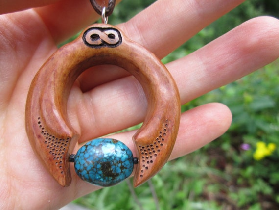 Cradled in the Arms of Etrnity  Handcarved Wooden Necklace with Turquoise