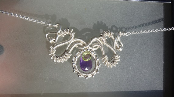 Amethyst and Peridot Wire Wrapped Necklace