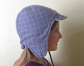 Pastel Plaid wool and fleece hat Sz S