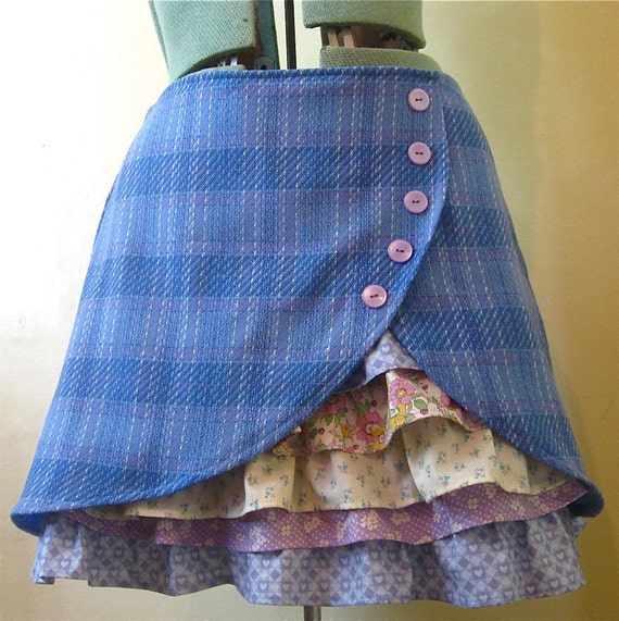 Plaid Wool Ruffle Front Skirt