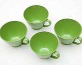 SALE- Retro small green plastic tea cups set of four-  springtime tea party, vestiesteam