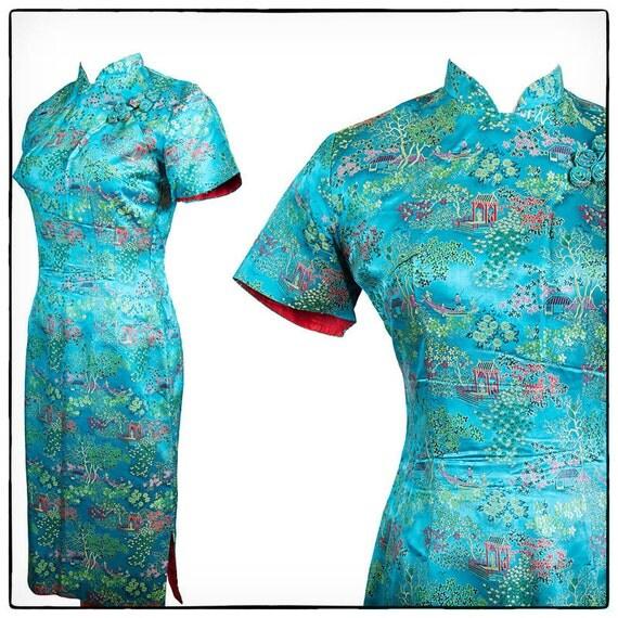SALE Vintage Chinese Brocade Teal Blue Wiggle Dress, vestiesteam