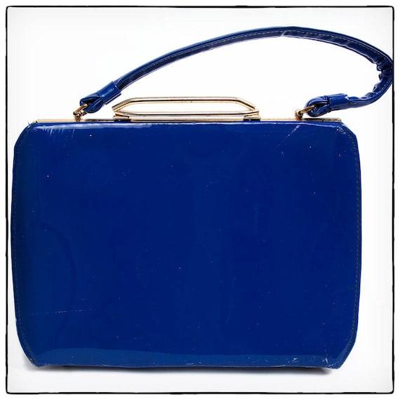 Vintage Dark Blue Vinyl 60's Handbag, vestiesteam