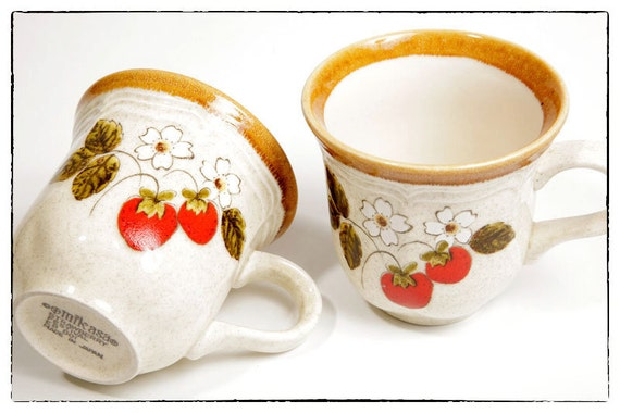 Vintage Pair of Mikasa Strawberry Festival Mugs