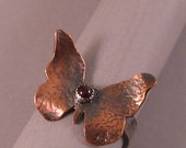 Etched Copper, Silver Butterfly Ring