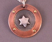 Copper and Sterling Silver Star of David Necklace
