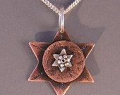 Jewish Star of David Necklace, Copper & Sterling Silver