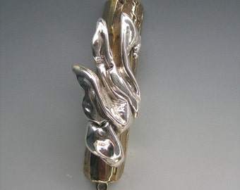 Modern Jewish Mezuzah Case, Eternal Flame in Sterling Silver and Bronze