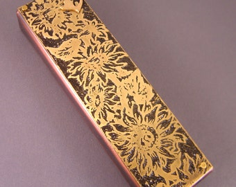 Copper and Brass Mezuzah  with Sunflowers,  Handmade by Ruth Shapiro