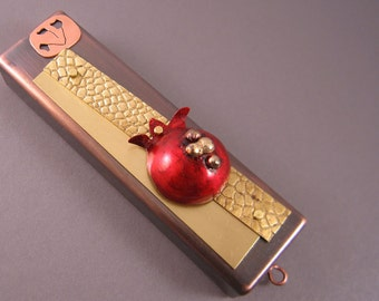 Handmade Mezuzah, Retro Pomegranate in Copper and Brass