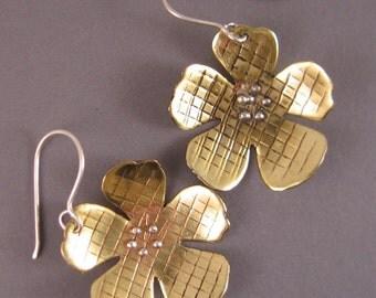 Flower earrings of brass and sterling silver