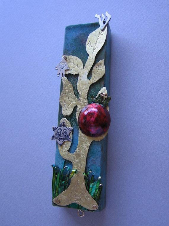 Jewish  Mezuzah with Pomegranate and Tree of Life