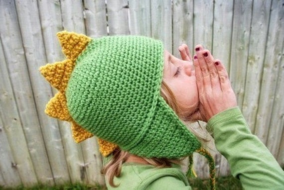 Dragon Mohawk Hat Boy Girl Green Yellow Spring