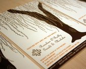 Reserved for Alisha, Cascading Willow Wedding Invitations and RSVP cards, Customized, You Print