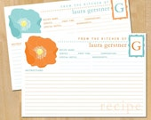 "50 Poppy Flower Recipe Cards, 4""x6"", Personalized Recipe Cards, Orange Recipe Blue Baby Shower Recipe Card Red Mothers Day Gift Cook Present"