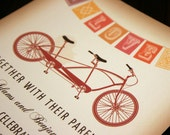 Rustic Vintage Tandem Bicycle Wedding Invitation with Flag Bunting, Red Orange Brown Wedding Bike Invitations Wedding Cyclist Wedding Invite