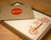 Tandem Bicycle Stationery and Sticker Set, 30 Sheets with Envelopes, Recycled