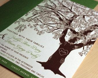 PRINTABLE Grandfather Oak Tree Wedding Invitations or Birthday Invitation, Anniversary, Bat Mitzvah, Custom Colors