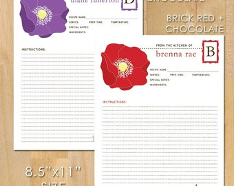 50 Poppy Recipe Cards, 8.5x11, Personalized