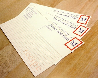 "50 Personalized Recipe Cards, 4""x6"" Customize with your Name and Monogram Initial"