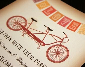 Rustic Vintage Tandem Bicycle Wedding Invitation with Flag Bunting, Red Orange Brown Wedding Bike Invitations Wedding Cyclist Wedding Invite