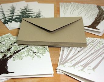 Tree Greeting Card Set of 12, Recycled Paper, Kraft Envelopes