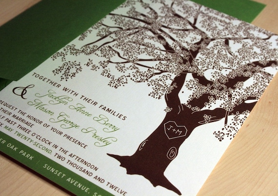 sample grandfather oak tree wedding invitations by vohandmade, Wedding invitations