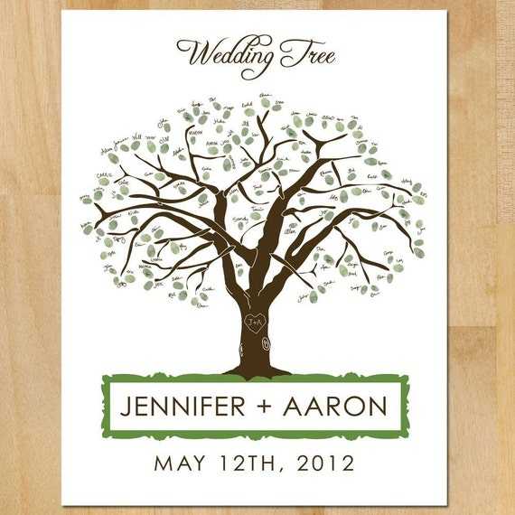 Printable Wedding Guest 'Book' Poster, Oak Tree with Carved Heart & Initials Wedding Tree Customized Colors Wedding Poster Guest Thumb Print