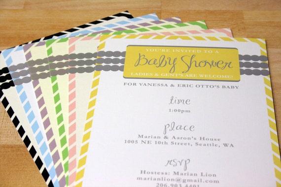 Modern Baby Shower Invitation Set with Stickers and Envelopes, Yellow Baby Shower Invitation, Pink Shower Invitation, Blue Shower Invite