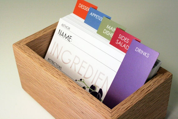 Flower Recipe Cards with Oak Box, 5 Flower Designs