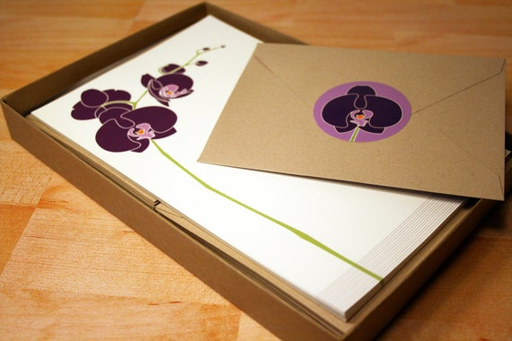 Orchid Stationery and Sticker Set, 30 Sheets with Envelopes, Recycled