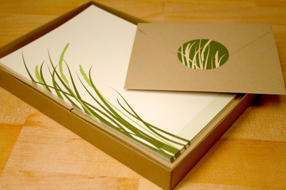 Modern Grass Stationery and Sticker Set, 30 Sheets with Envelopes, Recycled