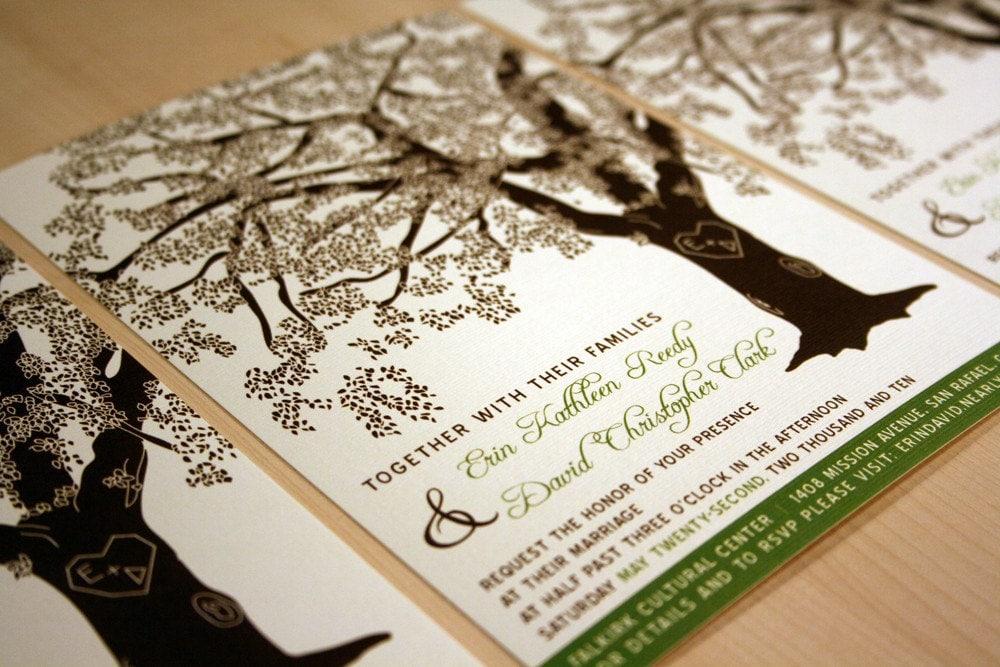 grandfather oak tree wedding invitations sample customized