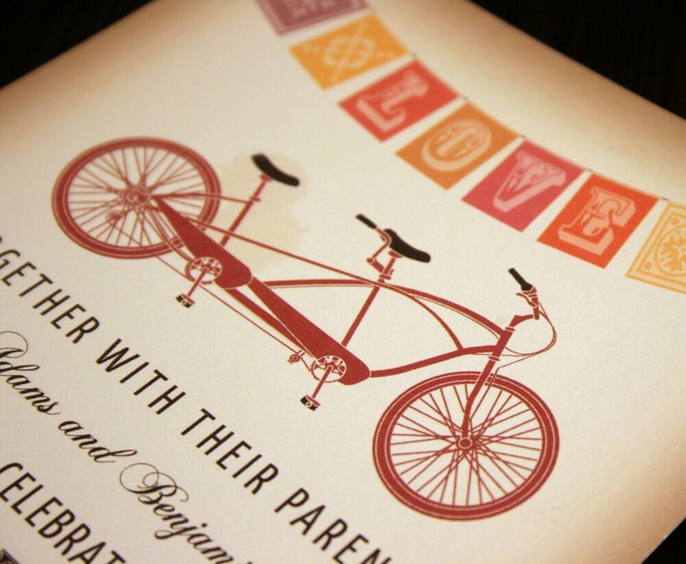 Tandem Bike Wedding Invitations: Rustic Vintage Tandem Bicycle Wedding Invitation By Vohandmade