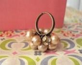Nimbus Ring - Soft Peach or Hazy Blue Pearls and Swarovsky Crystal Bead