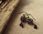 Vana - Sea Urchin - Gray Crystal Silver Earrings