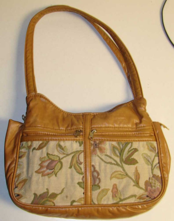 99 CENT SALE Caramel Faux Leather and Floral Tapestry Hobo