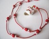 Cute Maneki Neko Necklace, Porcelain Beads, Wood Beads, Czech Beads