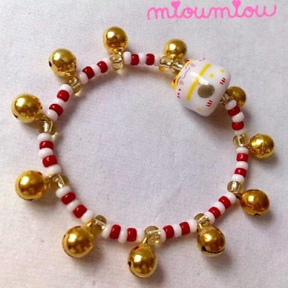 "ON SALE Cute Maneki Neko Bracelet, For Girls - Little Princess Edition  ""Jingle Jingle Miaow"""