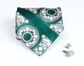 Wide Tie - Vintage Spearmint Green Damask