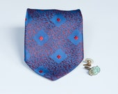 Vintage Tie - Blue and Red Abstract Flowers Menswear Accessory