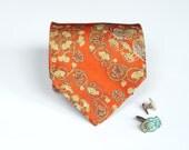Orange Tie - Vintage Neckite - Asian Pattern - Mandarin Ducks