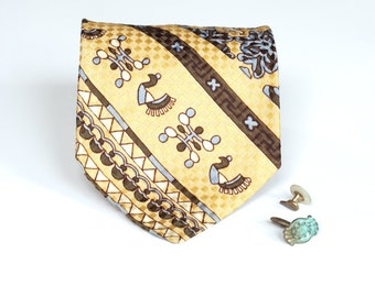 Yellow Gold Vintage Tie - Wide Distinctive Mens Accessory