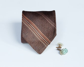 Brown Stripes & Dots Tie - Men's Tonal Vintage
