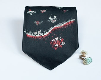 Mountain Tie - Black River Scene Vintage Necktie