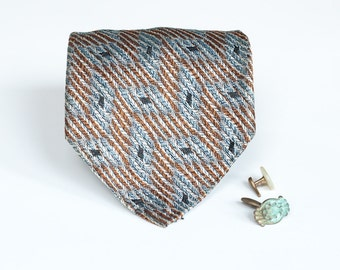 Vintage Tie - Sleek Classic - Bronze & Blue Diamond Pattern