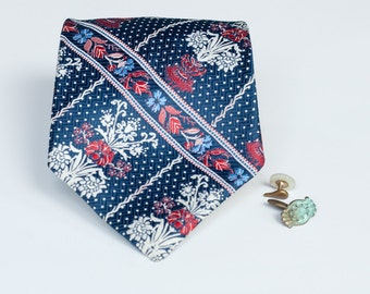 Vintage Necktie - Folk Flowers - Red White & Blue