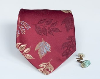 Red Necktie - Falling Leaves - Menswear Accessory