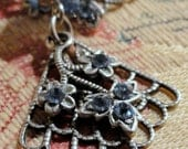 DIY KIT  Blue Flowers and Crystal with Antiqued Silver Filigree Earring Kit
