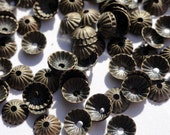 100 Oxidized Brass Fluted Flower bead Caps Smallest Size.